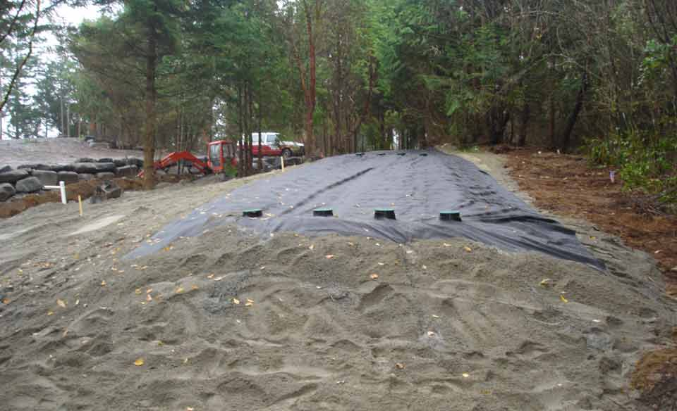 Disposal sand mound area installed