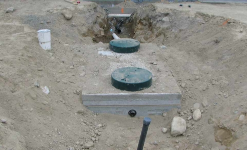 Connections to building sewer and force main to disposal